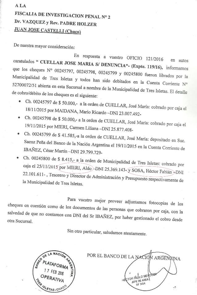 Copia del informe del Banco Nación que revela los nombres de las personas que cobraron los cuatro cheques de distintos montos, entre los que figuran dos exfuncionarios de la gestión Palacios