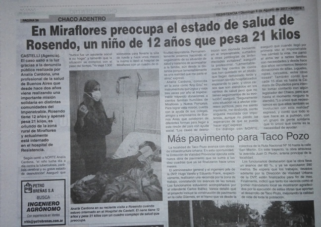 Este domingo, el Diario Norte publicó la situación que padece Rosenado, el nino de 12 años que pesa 21 kilos